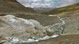 Glaciers: Sook Glacier on Ak-Shyirak mountain range on the northern side of the Issyk-Kul lake