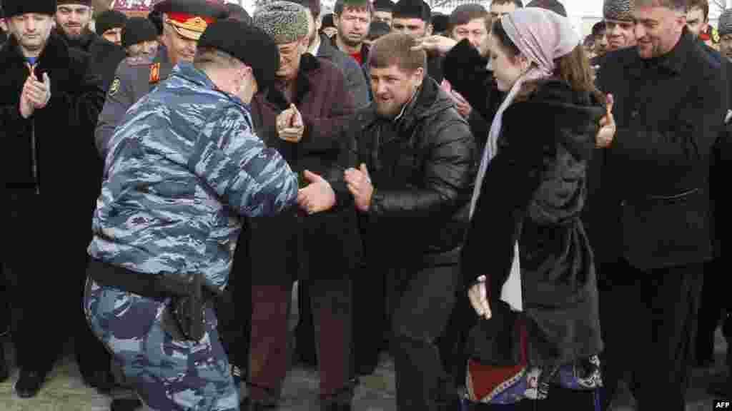 Kadyrov also found the time to lead members of the Chechen security forces on a merry dance.