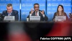 DST: Michael Ryan (solda), baş katib Tedros Adhanom Ghebreyesus və Maria Van Kerkhove