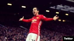 United Kingdom -- Armenian captain Henrikh Mkhitarian celebrates his goal at Old Trafford, Manchester, 11Dec2016