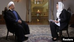 Iran -- President Hassan Rohani is pictured during an interview with Ann Curry from the US television network NBC in Tehran, September 18, 2013