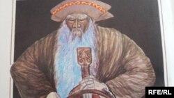 """""""Жазушы"""" баспасынан 1986 жылы жарық көрген """"Қорқыт ата"""" кітабындағы Қорқыт ата бейнесі."""