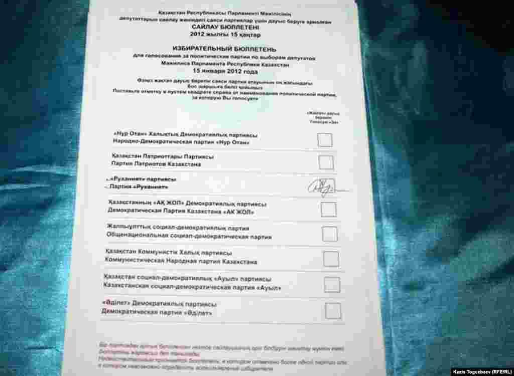 Бюллетень для выбора парламента по партийному списку.