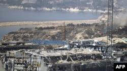 Пострадавшая в результате взрыва электростанция