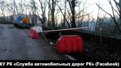 Оползень на автомобильной дороге от села Соколиное Бахчисарайского района до плато Ай-Петри