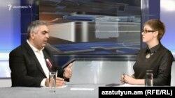 Пресс-секретарь Минобороны Армении Арцрун Ованнисян в студии Азатутюн ТВ, Ереван, 28 января 2019 г.