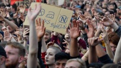 """Protest pod nazivom """"Mi smo više"""" protiv krajnje desnice u njemčkom gradu Kemnicu, 3. septembar 2018."""