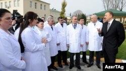 İlham Əliyev Astara rayon mərkəzi xəstəxanasının əsaslı təmirdən sonra açılışında, 13 mart 2012