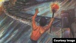 تصویری از «دهقان فداکار» که در کتابهای درسی ابتدایی ایران نقش بسته بود.