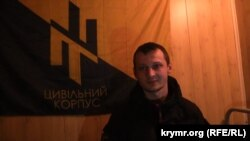 Станіслав Краснов у Чонгарі, на місці громадянської блокади Криму, фото 10 грудня 2015 року
