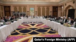 آرشیف/ یک نشست در مورد صلح افغانستان در قطر این تصویر جنبۀ تزئینی دارد