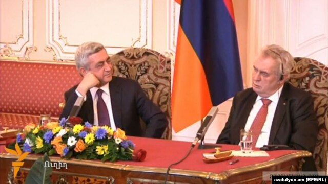 Czech Republic - Presidents Serzh Sarkisian of Armenia and Milos Zeman of the Czech Republic at a joint press conference in Prague, 30Jan2014