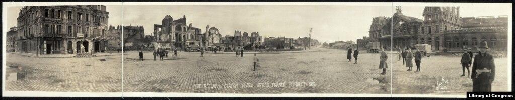 Поврежденная войной станция вокзала в Аррасе, Франция. Февраль 1919 года.