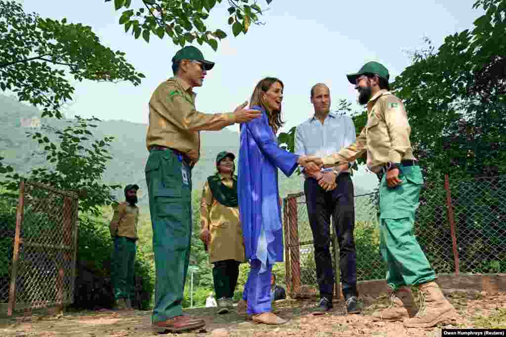 The duke and duchess meeting a park ranger in the Margalla Hills in Islamabad. The royal couple is in Pakistan on their first visit from October 14 to October 18.