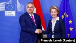Orbán Viktor és Ursula von der Leyen, az Európai Bizottság elnöke, Brüsszelben 2020. február 3-án.