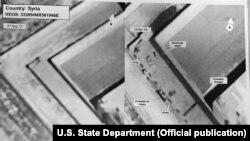 Приближенный спутниковый снимок предполагаемого крематория рядом с военной тюрьмой Сайедная в Сирии.