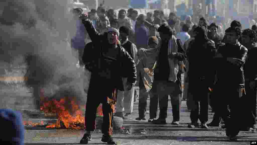 An Afghan youth shouts anti-U.S. slogans during a protest in Kabul on February 22.
