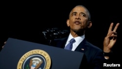 Presidenti Barack Obama gjatë fjalimit lamtumirës
