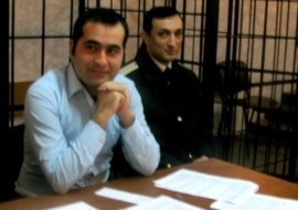 Opposition activist Baxtiyar Haciyev in a Baku court in April