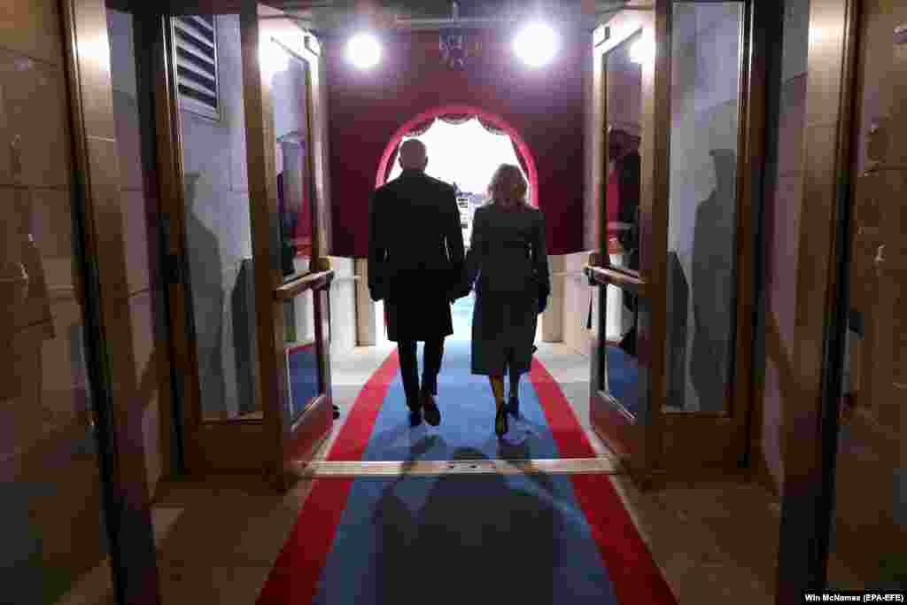 U.S. -- U.S. President-elect Joe Biden and Jill Biden arrive at his inauguration as US President in Washington, DC, USA, 20 January 2021.
