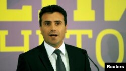 Leader of the opposition party SDSM Zoran Zaev at a press conference in Skopje on April 27, 2014