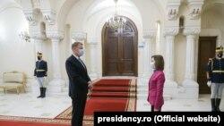 Președinta R. Moldova, Maia Sandu, și cel al României, Klaus Iohannis, București, 20 aprilie 2021
