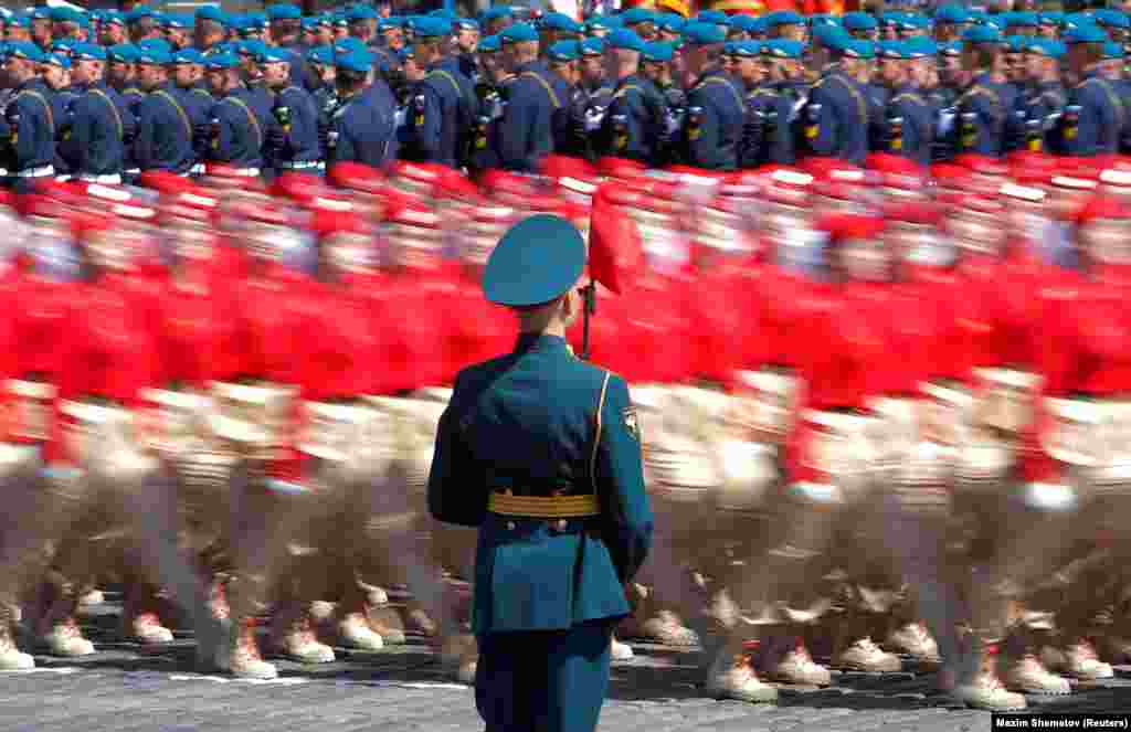 Members of Russia's Youth Army march during the Victory Day parade.