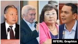 Gyrgyzystanyň premýer-ministrleri: Kurmanbek Bakiýew, Feliks Kulow, Roza Otunbaýewa, Omurbek Babanow.