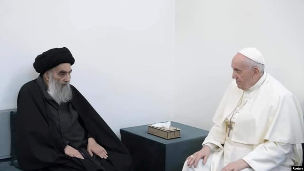 دیدار پاپ با مرجع تقلید شیعه در منزل او