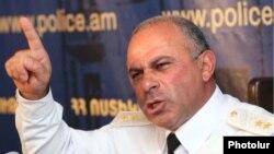 Armenia - Lieutenant-General Alik Sargsian, chief of the Armenian police, holds a news conference, 11Aug2011.