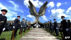 "The ""stone flower"" memorial at Jasenovac has served for decades as a gathering place for people to pay their respects to victims of the fascist Ustashe regime. (file photo)"