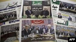 Роухани мен Обаманың телефон арқылы сөйлескені туралы мақала басқан Иран газеттері. Тегеран, 28 қыркүйек 2013 жыл.