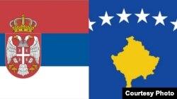 Flamujt e Kosovës dhe Serbisë - Ilustrim