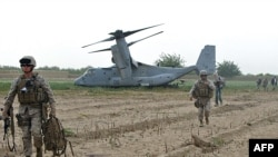 U.S. Marines disembark from an Osprey aircraft in the southren Afghan province of Helmand. (file photo)