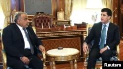 عبد المهدي مع رئيس وزراء إقليم كردستان نيشرفان بارزاني - أربيل 13 تشرين الثاني 2014