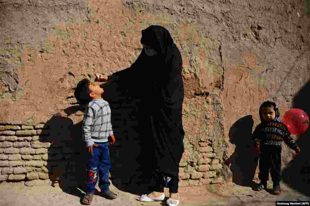 A burqa-clad health worker administers polio vaccine drops to a child during a vaccination campaign in Herat, Afghanistan (AFP/Hoshang Hashimi)