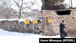 Armenia -- Natural gas meters in a village.