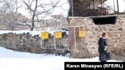 Armenia -- Natural gas meters in a village.