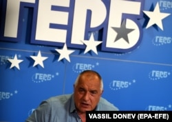 The leader of the GERB party, Boyko Borisov, speaks to reporters on July 12.