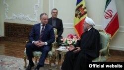 Igor Dodon la întîlnirea sa cu președintele iranian Hassan Rohani la Teheran