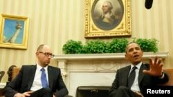Президент Барак Обама Украинанын премьер-министри Арсений Яценюк менен жолугушууда. Вашингтон, Ак үй, 12-март, 2014-жыл