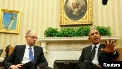Арсеній Яценюк і Барак Обама під час офіційної зустрічі в Овальному кабінеті Білого дому, Вашингтон, 12 березня 2014 року