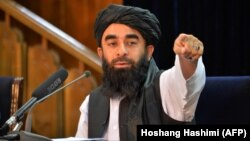 Taliban spokesperson Zabihullah Mujahid during a press conference in Kabul on August 24.