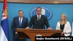 Српскиот претседател Александар Вучиќ, претседателката на Република Српска, Жељка Цвијановиќ и претседателот на претседателството на БХ, Милорад Додик.