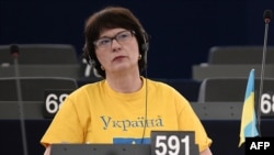 Latvian European parliamentarian Sandra Kalniete during a debate on the Ukraine crisis in March 2014