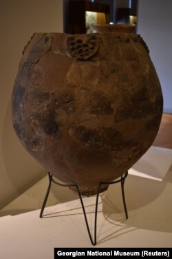 Possibly a Neolithic qvevri used for brewing wine, on display at the Georgian National Museum.