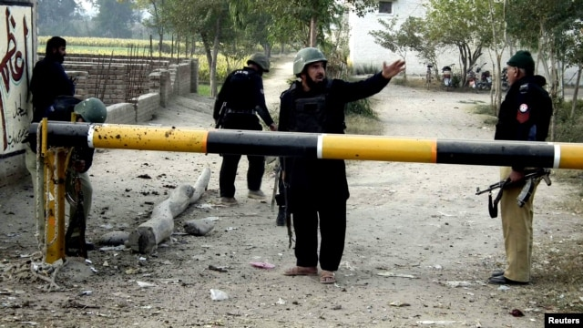 The aftermath of the attack at the police station in Bannu.