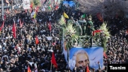 Massive crowds are seen mourning General Qasem Soleimani in Kerman on January 7.