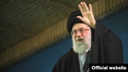 Iran -- Iran's Supreme Leader Ayatollah Ali Khamenei shows him waving during his meeting with students, 31Oct2012