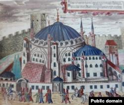 Святая София на рисунке 16-го века с минаретами, построенными известным османским архитектором Синаном